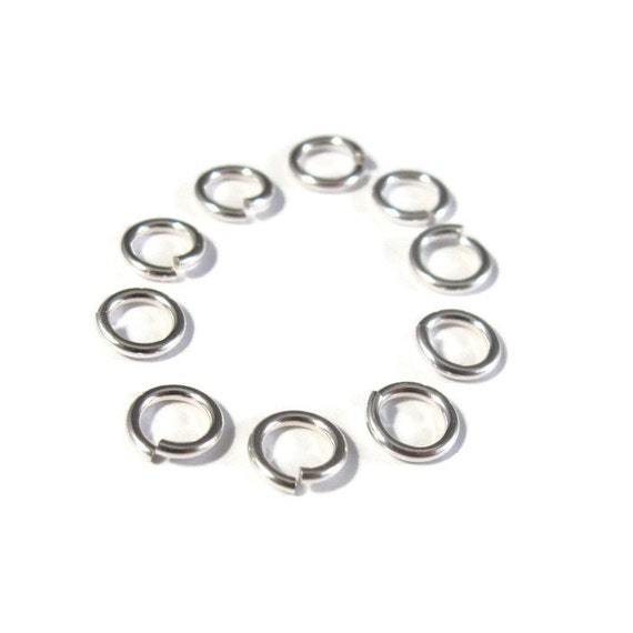 6mm Open Jump Rings, 10 Sterling Silver 6mm Open Jump Rings, 18 Gauge, Jewelry Findings for Necklaces and Bracelets (H SJ106)