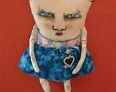 weird monster doll, sandy mastroni, heart jewlery ,monster Elaine art doll, original doll, whimsical doll art