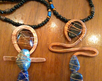 Copper and Gemstone Beaded Men's or Women's Ankh Necklace