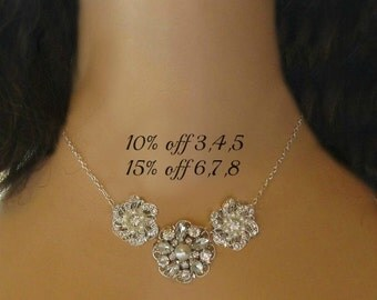 Set of 6, Bridesmaids necklace, Set of 7, bridesmaids jewelry, Set of 8, Bridesmaids Gifts, Silver Necklace, Statement Jewelry