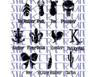 11 Options! You Choose! Tanning Bed Decals Tanning Bed Stickers Feather Rooster Bow Initial Deer Doe Buck Anchor Fleur De Lis Cactus