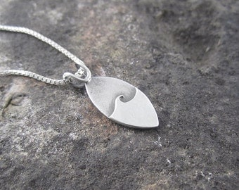 Handmade Minimalist Single Wave Sterling Silver Pendant