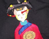 Vintage Silk Chinese Hanging Paper Doll