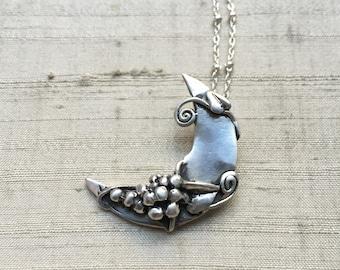 Sterling Lyra Moon Pendant