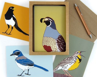 Wild Bird Note Cards--Printed on Recycled Paper--Box of 8
