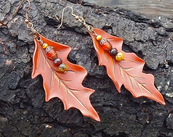 Brown Oak Leather Leaf Earrings with Tiger Eye, Carnelian and Jasper Accents