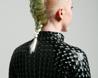 High Collar Stretch Vinyl Black Mind Warping Robot Lover Futuristic Cyborg Bodysuit