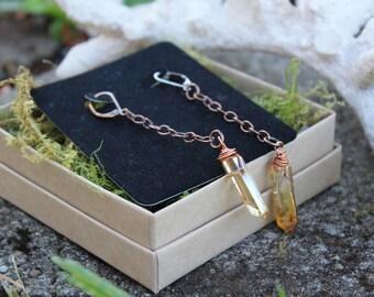Gemstone Crystal Quartz Earrings | Titanium Tangerine Aura Quartz Mystic Collection | Long Dusters | Wire Wrapped | Bohemian Ginger