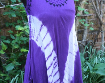 Purple and white tie dye tank swing top hippie India embroidered rayon free size