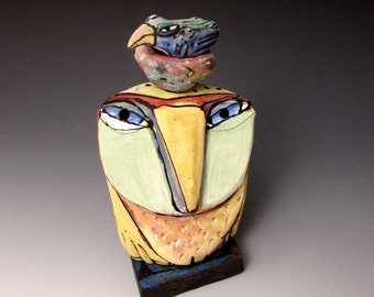 "Owl art, handmade one of a kind ceramic owl art,""Owl Person and Nesting Blue Bird.  Love is All, 5-3/4"" tall"
