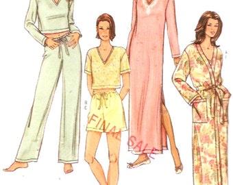 Nightwear Sleepwear Pajamas Robe nightgown top pants sewing pattern Butterick 4037 Sz XS to Medium Uncut DIY Gift ideas for women