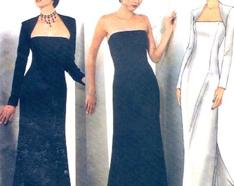 Chic evening gown and shrug sewing pattern Butterick 6533 Size 6 to 10 UNCUT Wedding party