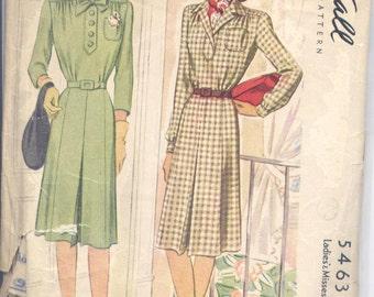 Vintage 40s Casual Shirtwaist Dress Pattern- McCall 5463- Bust 34- Size 16