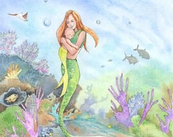 Mermaid Wall Art - Mermaid Prints Art - Mermaid Mama and Baby - Fantasy Lover Gift