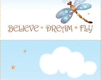 Quilt Label - (2) Dragonfly - Believe, Dream, Fly