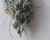 RESERVED for S. Nautical Decor, Natural Fishin Net, Beach Finds Installation, Fish Net, Driftwood, thread, Floaters - Wall Hanging