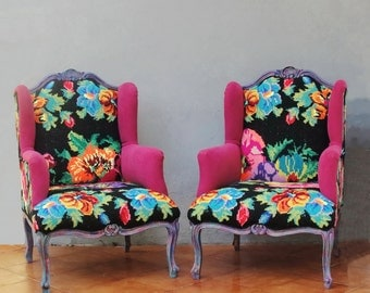 Embroidered Armchair Baroque Flowers and Woodwork Bohemian Popart Furniture Vintage Embroidery, Global Textile