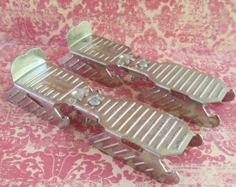 Pair of Vintage Italian Stainless Steel Child's Ice Skates