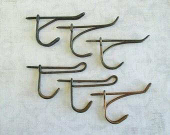 Set of Six Vintage Metal School Hat or Coat Hooks