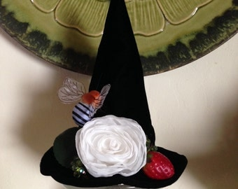 Witch Hat, Mini Top Hat, Strawberry Rose Fascinator