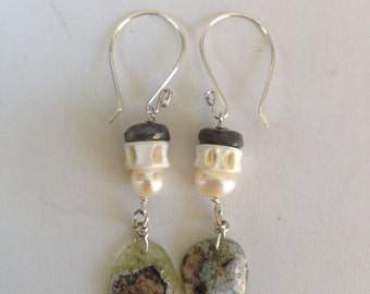 Ancient Roman Glass Labradorite Fossil Earrings
