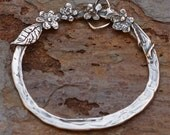 Artisan Sterling Silver Charm Holder adorned with Flowers, AD461