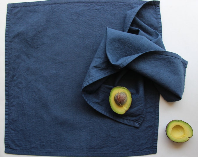 the Essentials Reusable Cloth Napkins - Navy Blue - Washable Eco Friendly Cotton Napkins - Blue Dish Linens - Kitchen Textiles