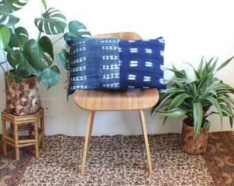 Patched Indigo Mudcloth Pillow Cover, Lumbar Pillow, African Cotton Mudcloth, Linen Pillow, 16x26, Rose Gold, Tie Dye Pillow, Bohemian Decor