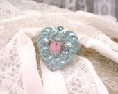 RESERVED for AMANDA Vintage Heart Charm Ring Pink Rose Aqua Blue Patina Shabby Chic Art Distressed Boho Chic Romantic Ring Love