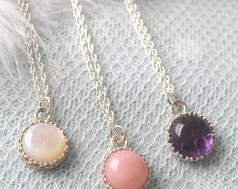 Candy Vintage Sterling Silver Semi Precious Stone Necklace