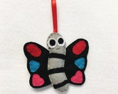 Butterfly Ornament, Christmas Ornament, Joss the Butterfly, Felt Insect, Felt Animal, Woodland Decoration, Spring