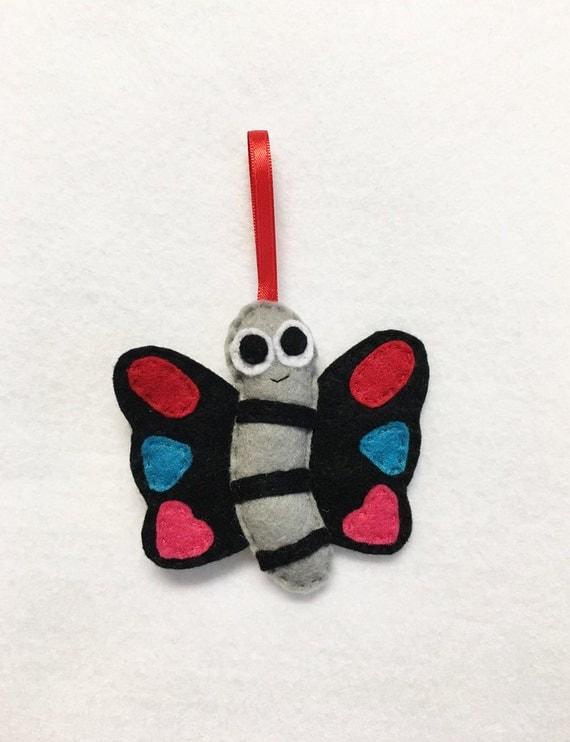 Butterfly Ornament, Christmas Ornament, Joss the Butterfly, Made to Order, Felt Insect, Felt Animal, Woodland Decoration, Spring