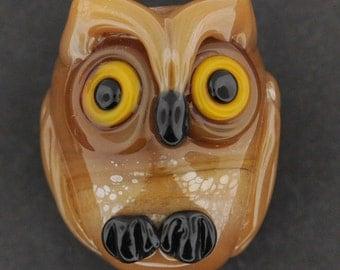 Sandalwood Baby Owl, Lampwork Owl Pendant, Owl Bead