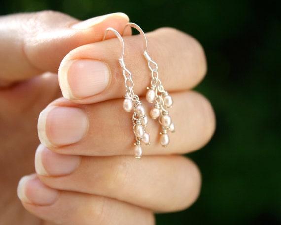 Light Pink Pearl Earrings . Dainty Pearl Earrings . Simple Pearl Earrings . Blush Pink Earrings . Delicate Pearl Earrings - Emma Collection