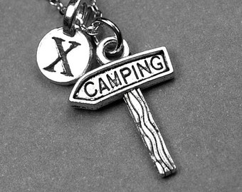 Camp Sign necklace, camp sign charm, camping necklace, sign necklace, camping jewelry, personalized necklace, initial necklace, monogram