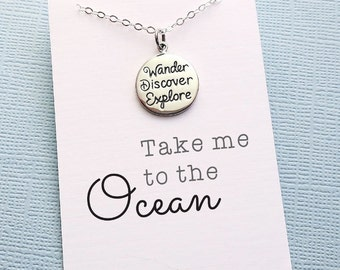 Summer Charm Necklace | Pendant Necklace | Summer Motto Necklace | Graduation Gift | Wanderlust | Layering Necklace | Sterling Silver | X16