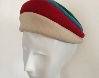 Vintage Wool Hat Henry Pollak Zephyr Felt Tiered Four Color Wool Hat Cream Blue Red and Green