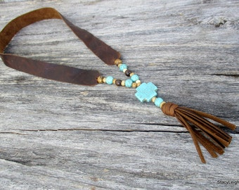 Rustic Leather Necklace with Tassel and Stones