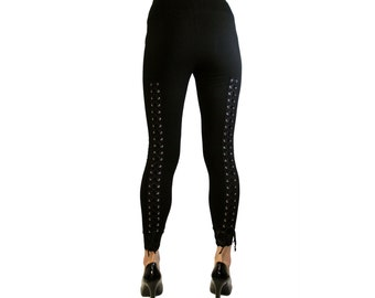 Lace-Up Back Leggings with Black Lacing XS S M L XL 2xl 3xl plus size corset lacing Grommet Eyelet punk goth pants Stretch lace trim
