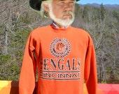 vintage 80s sweatshirt cincinnati BENGALS nfl football Large XL crew neck orange