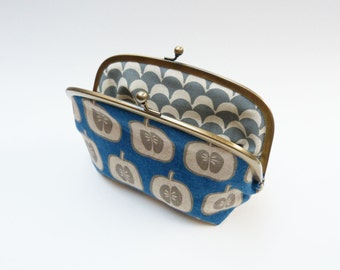 Cosmetic bag, blue and grey apple design, cotton purse