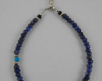 Iolite, Sleeping Beauty Turquoise, Sapphire, Blue Quartz, and Sterling Silver Bracelet