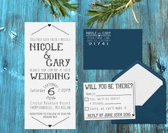 Wedding invitation rubber stamp set Invitation, RSVP and Return address --13006-MULT-000
