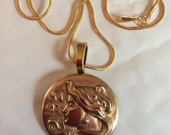 Lady with flowing hair art nouveau vintage medium circular brass pendant and necklace chain 43cm