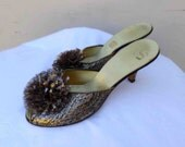 """Vintage Mid Century Black ,Gold and Silver  Metallic Pom Pom """"Comfy Slippers"""" by Daniel Green Size B 90"""