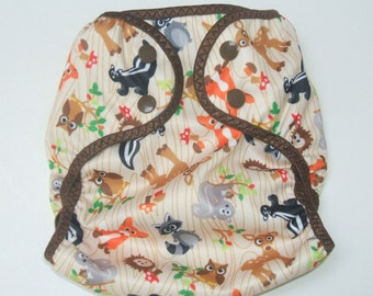 Diaper Cover, Small Cloth Diaper Cover, 3-6 month Nappy Wrap with Snaps, Woodsy Animal