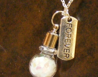 FOREVER, My Wish Blown Glass Sterling Necklace Nc2306, Glass Vial, Friends, Love, Truth, Mom, Dauthter, Free Spirit, Together, by Lynn