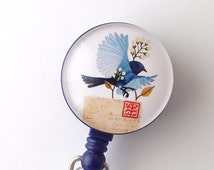 Bluebird and Letter on Badge Holder, Retractable ID Badge Reel, Name Badge Reel 263