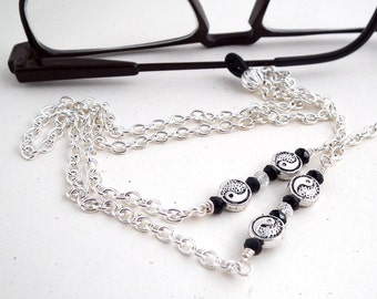 Silver Yin-Yang Bead Chain Eyeglass Leash