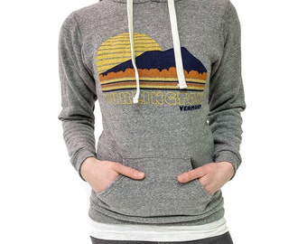 Burlington Vermont Sweatshirt vintage inspired sunset hoodie pullover sweatshirt grey mens sweatshirt womens sweatshirt camels hump